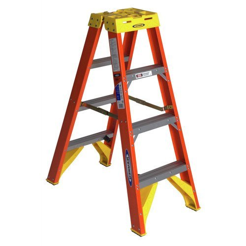 Werner (T6204) Twin Step Ladder, Fiberglass - Twin Platform Step Ladder