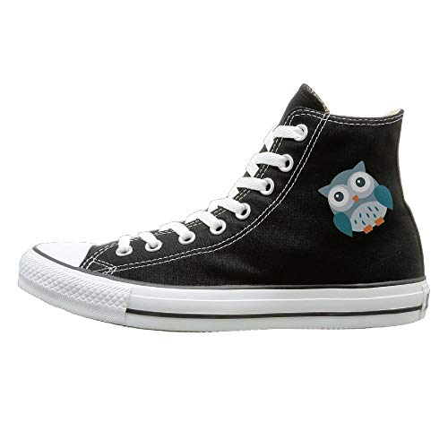 Sakanpo Owl Canvas Shoes High Top Sport Black Sneakers Unisex Style 37