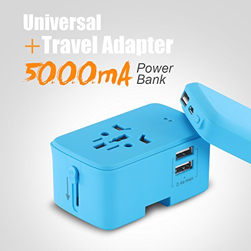 International Universal Travel Adapter with 5000mAH Power Bank, (2018 Upgraded) ALLOMN Worldwide All in One Design Power Adapter with Portable Charger, 2.4 A 2 USB Smart Wall Charger Perfect Travel Accessories- Blue