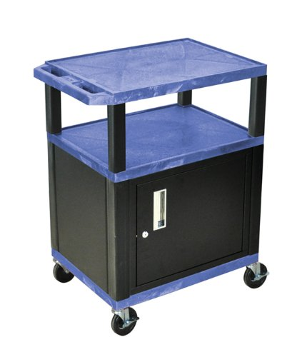 (Luxor, H. Wilson's 3 Shelf Tuffy Cart with Cabinet and Black Legs, WT34BUC2-B, Blue)