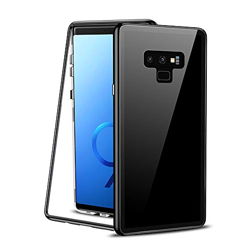 Magnetic Cover for Galaxy Note 9 Case Full Body Protection, Clear Tempered Glass Hard Back with Built-in Screen Protector Magnets Metal Bumper Frame Ultra Slim Phone Case Note 9 2018 (Black) (2 In 1 Bumper Case Note 3)