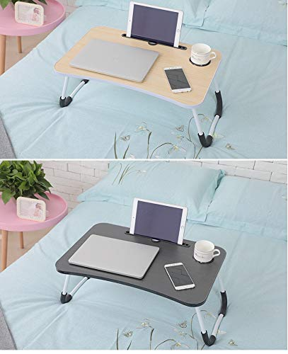 laptop deskFolding Bed Table Laptop Desk with iPad and Cup Holder Adjustable Lap Tray Notebook Stand foldable watch moveiies -Black