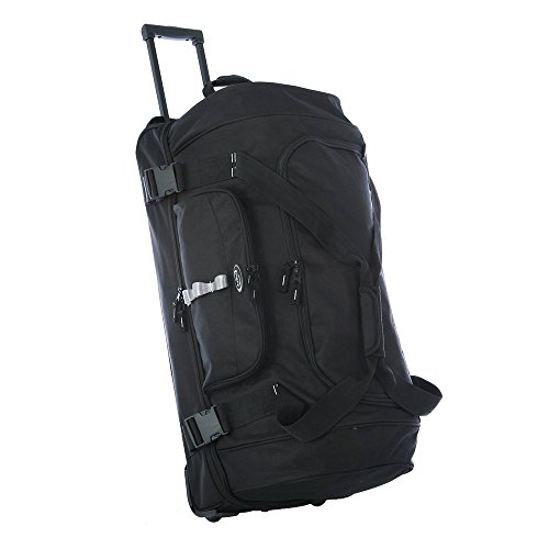 Olympia Sports Plus Drop Bottom Rolling Duffel Bag in Black from Olympia
