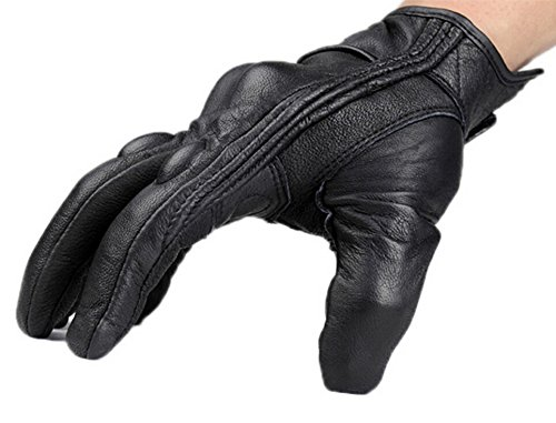 FXC Full Finger Motorcycle Leather Gloves Men's Premium Protective Motorbike Gloves (L, Solid) by FXC (Image #1)