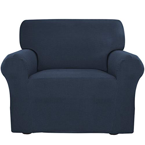 Easy-Going Stretch Slipcovers, Sofa Covers, Furniture Protector with Elastic Bottom, Anti-Slip Foams, 1 Piece Couch Shield, Polyester Spandex Jacquard Fabric Small Checks (Chair, Navy)