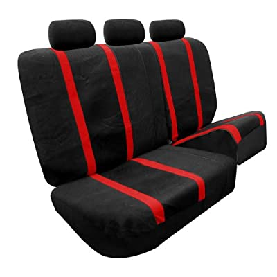 FH Group Universal Fit Full Set Sports Fabric Car Seat Cover with Airbag & Split Ready, (Red/Black) (FH-FB070115, Fit Most Car, Truck, SUV, or Van): Automotive