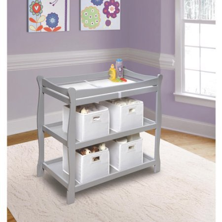 Badger Basket Sleigh Style Baby Changing Table (Gray) by Badger Basket (Image #2)