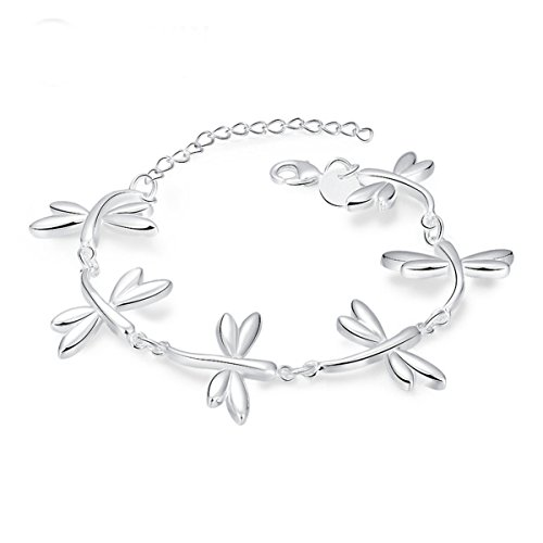 Godyce Dragonfly Bracelet Sterling Silver Plated for Women Girl Jewelry Charm - Silver Dragonfly Bracelets