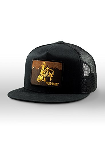 Fly Fishing Hat Wild West Wyoming Flat Bill Snap Back (One Size, Black/Black) ()