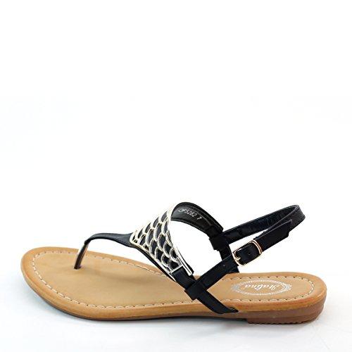 ... Ny Brieten Kvinners Komfort Metallic Ornament Fiskeskinn Flip Flops  Slingback Sandaler Sort ...