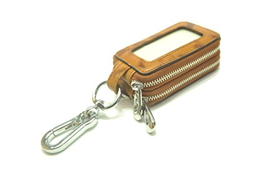 Xgbz Car key case key Bag Genuine Leather Car Smart Key Chain Keychain Holder Metal Hook and Keyring Zipper Bag for Remote Key Fob - Caramel color by Xiao guan bao zi