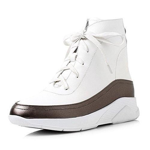 AgooLar Damen Weiches Material Reißverschluss Mittler Absatz Niedrig-Spitze Stiefel Weiß