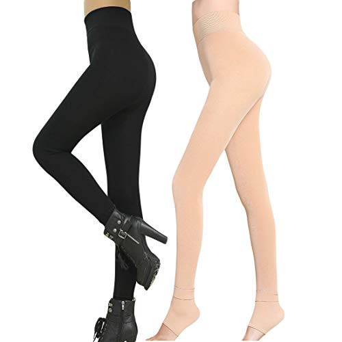 - Romastory Winter Warm Women Velvet Elastic Leggings Pants Fleece Lined Thick Tights (Black+Skin Pack)