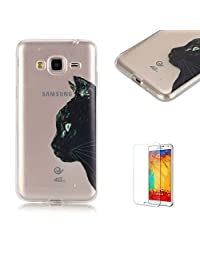 For Samsung Galaxy J3(2015 Model)/(2016 Model) Case [with Free Screen Protector], Funyye Fashion lovely Lightweight Ultra Slim Anti Scratch Transparent Soft Gel Silicone TPU Bumper Protective Case Cover Shell for Samsung Galaxy J3(2015 Model)/(2016 Model) -Cute cat