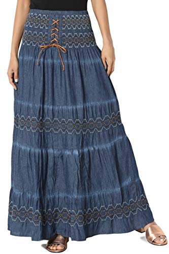 TheMogan Women's Embroidered Tiered Chambray Smocked Maxi Skirt Denim ONE ()