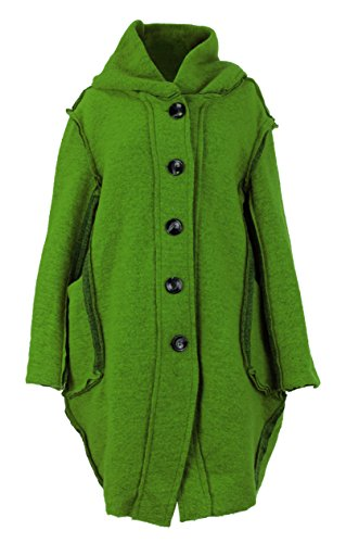 Collar Tulip Lagenlook Button Front Hood Lime Coat Ladies Women Size One Boiled Green Cocoon Texture Jacket Wool Italian 8RwPXtq