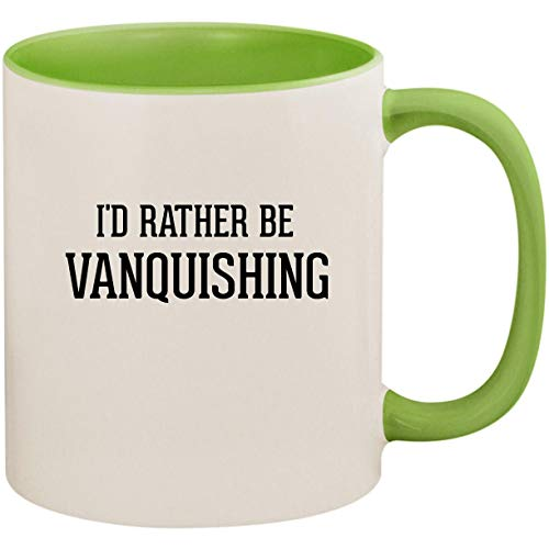 (I'd Rather Be VANQUISHING - 11oz Ceramic Colored Inside and Handle Coffee Mug Cup, Light Green)