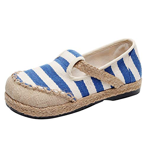 Mordenmiss Women's Linen Striped Espadrilles Chinese Canvas Flat Mary Jane Slippers Moccasins Blue US ()