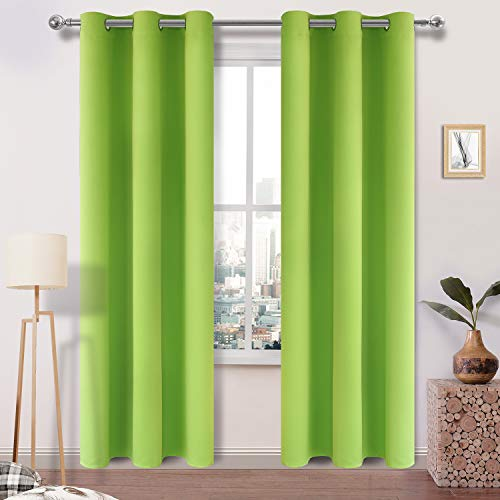 DWCN Blackout Curtains Room Darkening Grommet Thermal Insulated Triple Weaved 42 x 84 Inches Length Curtain Panels for Bedroom Girl Room, Set of 2, Green