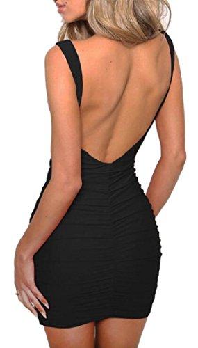 Jaycargogo Femmes Sexy Manches Col En V Dos Nu Ruché Bodycon Partie Robe Noire
