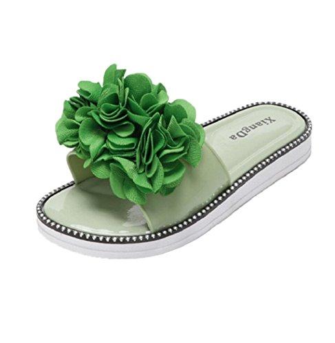 Bathroom Flat Antiskid Womens Beach Green Flower Shoes Peep Sagton Sand toe Slippers Sandals zYvwdnx5Uq