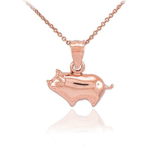 Polished 14k Rose Gold Pig Charm Pendant Necklace, 22