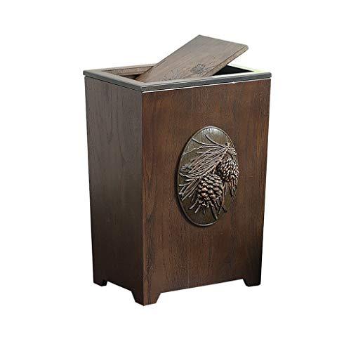 (Creative Vintage Wooden Indoor Dustbins Home Office Kitchen Covered Trash Can Bins Waste Basket Rubbish Garbage Wheelie Bin 6L (Color : Pinecone Shape, Size : Flip Cover))