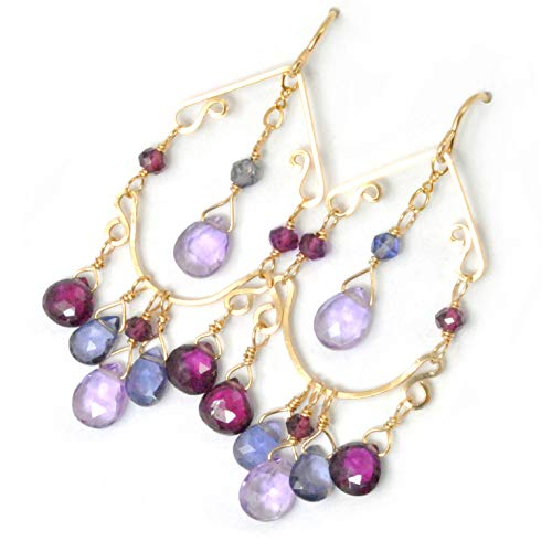 Multi Gem Earrings with Pink Amethyst, Iolite and Violet Garnet Handcrafted in 14K Gold Filled ()