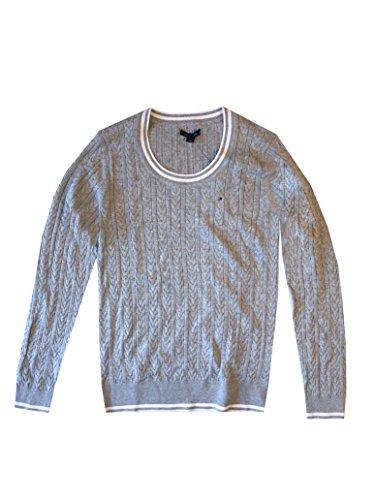 90dc3643c961 Tommy Hilfiger Damen Zopf Pullover Pulli Strickpullover Rundhals grau Größe  S NQdpDJlyF