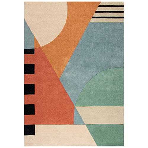 Safavieh Rodeo Drive Collection RD863A Handmade Mid-Century Modern Abstract Wool Area Rug, 5′ x 8′, Gold