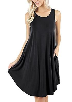 peassa Women's Sleeveless Pockets Casual Swing T-Shirt Short Dresses