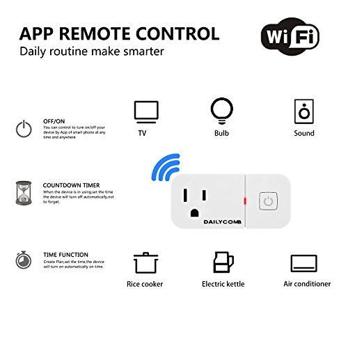 Smart Plug,Compatible With Alexa & Google Assistant, USB Charger (5V 2.1A), DAILYCOMB Wi-Fi Mini Smart Outlet With Timing Function, No Hub Required Easy Connection With Amazon Echo Google Home(3 PACK)