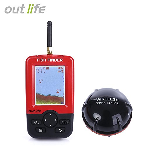 OUTLIFE Fish Finder – Wireless Sonar Sensor and Handheld LCD Display Monitor with Depth / Water Temperature / Fish Size / Location, for Small Boats Ice Lake Sea Night Fishing