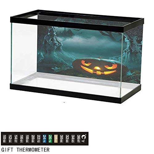 bybyhome Fish Tank Backdrop Halloween,Carved Pumpkin in Forest,Aquarium Background,48