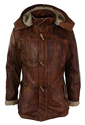 Aviatrix Mens Real Leather Hood Duffle Safari Jacket Long 3/4 Fur Washed Timber Brown Tan