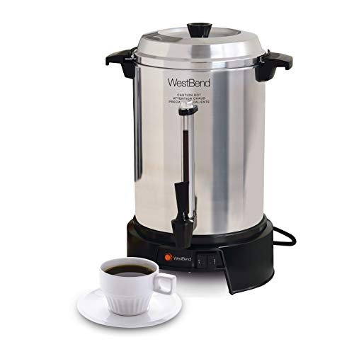 West Bend 13500 Highly-Polished Aluminum Commercial Coffee Urn Features Automatic Temperature Control Large Capacity with Quick Brewing Smooth Prep and Easy Clean Up, 55-cup, Silver ()