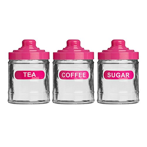 Set Of 3 Hot Pink Colour Glass 760ml Tea Coffee Sugar Kitchen ...