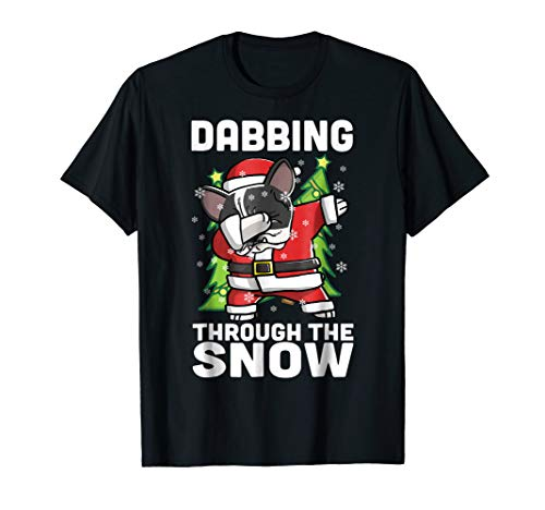 French Bulldog Pied (Pied French Bulldog Dabbing Through The Snow Christmas Shirt)