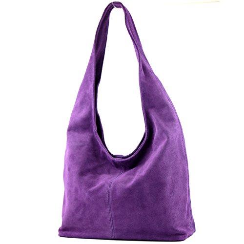 cuero T150 de Damentasche Wildleder hombro Bolso de modamoda Bolso de Bolso Lavendel ital hombro de wgwqFBxIO