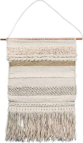 """Primitives by Kathy Handmade Woven Wall Hanging, Odyssey Style, Textured Fringe Tassel Banner, Textile Wall Art Boho Decor, Living Room, Bedroom, Baby Nursery, 13"""" x 22"""""""