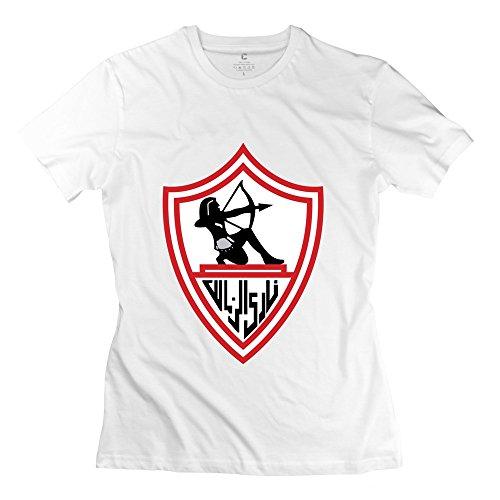 Hoxsin Women's Zamalek Sc Cool 100% Cotton T Shirt White US Size XS