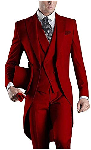 Men's Red 3PC Long Tailcoat Suit Notch Lapel One Button Wedding Suits Groom Tuxedos Red 34 Chest / 28 Waist