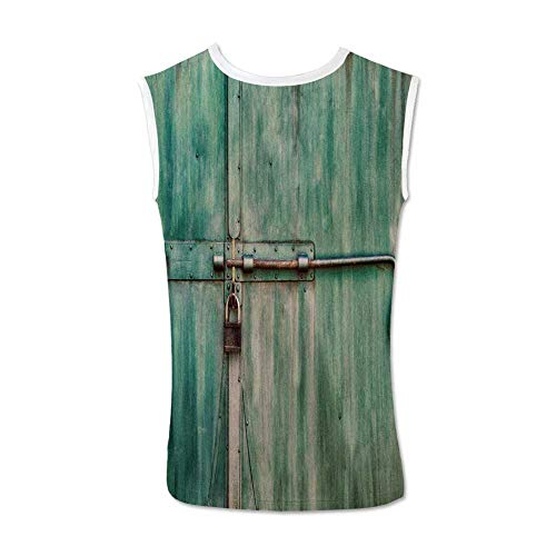 Industrial Comfortable Tank Top,Aged and Closed Door with a Lock Close Up View in Retro Style Entrance Photo Decorative for Men,XXL
