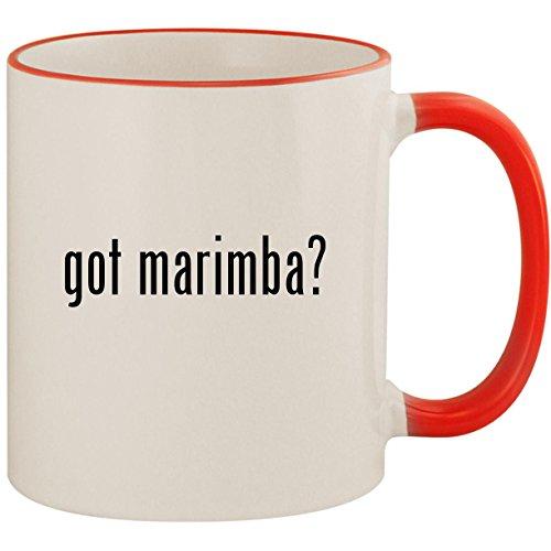 (got marimba? - 11oz Ceramic Colored Handle & Rim Coffee Mug Cup, Red)
