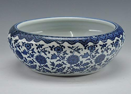 - Fotcus - Chinese antique qing qianlong mark blue and white porcelain ceramic fish bowl flower pot - (Color: pot without hole)