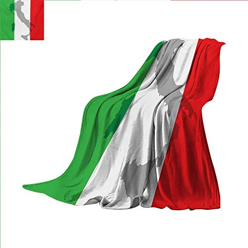(Italian Flag Throw Blanket Map View of Italy Land Chart National Country Europe Ancient Culture Warm Microfiber All Season Blanket for Bed or Couch 50 x 30 inch Grey Red Fern Green)