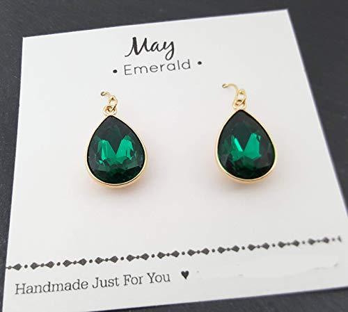 May Birthstone Earrings - 14k Gold Filled Emerald Crystal Teardrop Earrings - Gift for Her