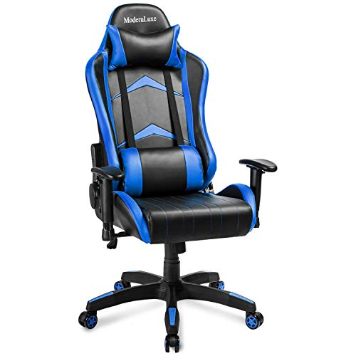 Modern Luxe Racing Style PU Leather Office Chair Swivel Computer Gaming Chair Executive Reclining Chair (Blue) -