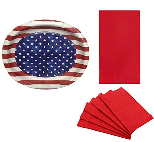 (4th of July Red White and Blue Patriotic Buffet Oval Paper Plates and Napkin Party Bundle)