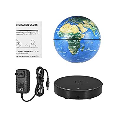 Aibecy Magnetic Levitating World Map Globe with LED Light Base Anti-Gravity Floating Rotating 6 Inch Globe Earth Ball for Home Office Desk Decoration Students Educational Gift: Office Products